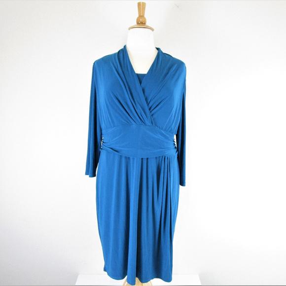 94e83c9009 Chaps Dresses   Skirts - Chaps Plus Size Faux Wrap Sheath Dress Blue
